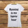 Damska koszulka do biegania z nadrukiem - Running is my happy hour