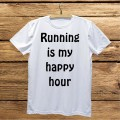 Męska koszulka do biegania z nadrukiem - Running is my happy hour