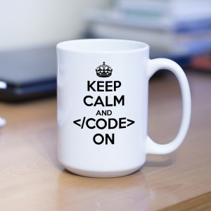 Keep Calm and Code on kubek