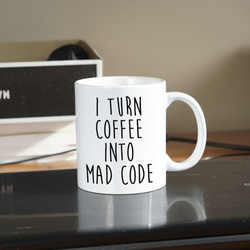 Kubek programisty i turn coffee into mad code standardowy 330 ml