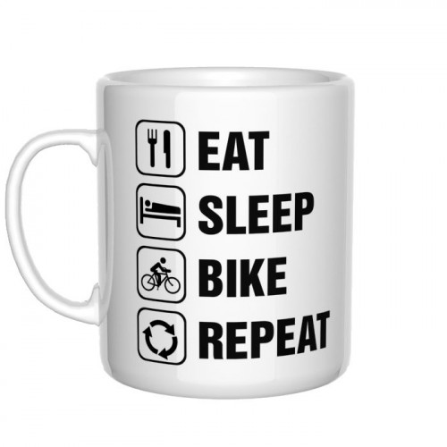 Eat Sleep Bike Repeat kubek rowerzysty