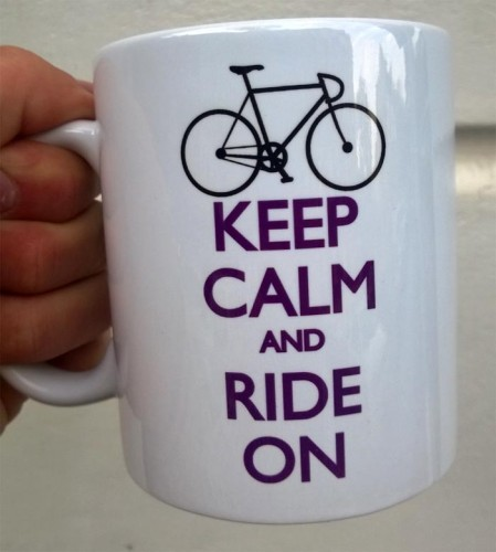 Keep Calm and Ride On kubek rowerzysty rower