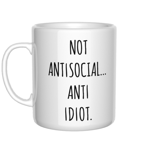 Not antisocial anti idiot kubek