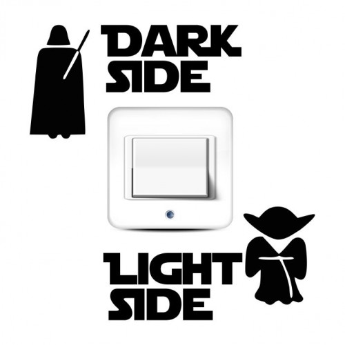 Dark light side naklejka pod kontakt włącznik